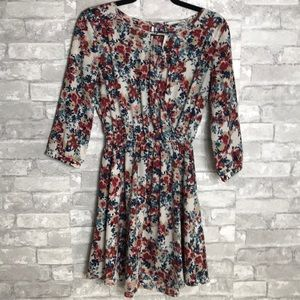 Lush size small floral cinched dress
